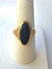 ELEGANT 14 KT YELLOW GOLD BLACK AGATE RING SIZE 7.25 MADE IN HOLLAND