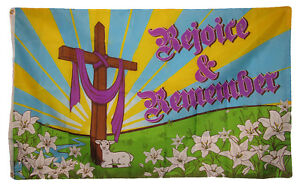 3x5 Rejoice & Remember Jesus Christ Religious Easter Holiday Flag 3'x5' Grommets
