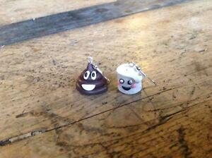Earrings Emoji Poo Poop Paper Toilet Handmade Christmas Gift Ideas Stocking