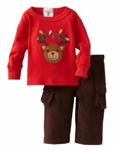 NEW Mud Pie Boys REINDEER Holiday Christmas Red Top & Cord Pants  2 PC SET 0-6 M