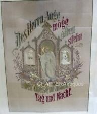 Antique German Wax, Needlework Paper Punch SAMPLER with Christ House Blessing