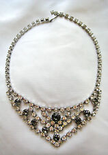 BEAUTIFUL VINTAGE CRYSTAL & SMOKEY RHINESTONE CROWN CHOKER COLLAR BIB NECKLACE