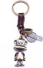 AuPra Funny Monkey Leather Keyring Gift Animal Key Chain Ring Kids Present