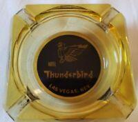 "Vintage Ash Tray HOTEL THUNDERBIRD LAS VEGAS NV Yellow Glass Square 3.5"""