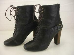 Women's 8.5 9 sz 39 Plenty by Tracy Reese Black Lace-Up Bootie Rebel Ankle Boots