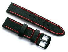 22mm Black Cowhide Leather Red Stitching Watch Band Black Buckle for Invicta 22