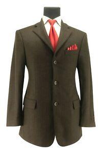 Men's Bespoke Custom Brown Houndstooth Ventless Sport Coat Blazer Jacket Sz 38 S