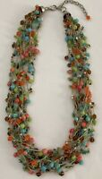 """Multi Strand Beaded String Necklace Multi Color Glass Beads Pink Blue Green 17"""""""