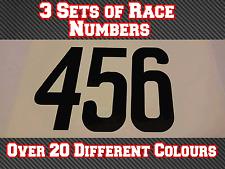 """3 conjuntos de 4"""" 100mm Custom Carrera Número Pegatinas De Vinilo Calcomanías MX Motocross Bici N24"""