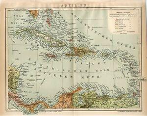 1897 ANTILLES CUBA JAMAICA PUERTO RICO BAHAMAS HAITI DOMINICAN REP. Map dated