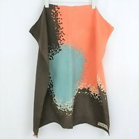 "Vintage GIVENCHY 100% Silk Coral Blue Brown Scarf 27"" x 26"" Authentic"