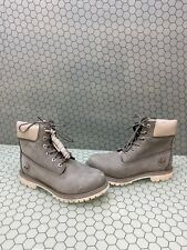 Timberland Premium 6 Inch Gray Nubuck Waterproof Lace Up Boots Women's Size 8.5M