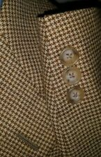Hickey Freeman 42L Houndstooth Check Tweed WOOL Tan Sport Coat Blazer Jacket