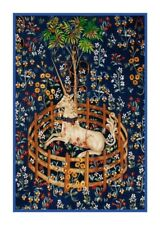 Medieval Navy Blue Unicorn Captivity from Tapestry Counted Cross Stitch Pattern