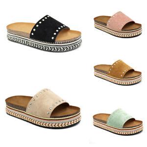 Damen Plateau Sandalen Sandaletten Pantoletten Ethno Slipper Sommerschuhe Schuhe