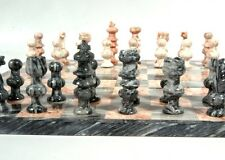 "NEW Stone Marble CHESS GAME BOARD 33PC SET 14""x1/2"" Pink Gray Black Onyx Mexico"