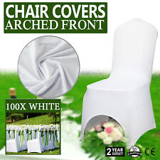 100 pcs Universal Polyester Spandex Wedding Chair Covers Arched Front White