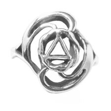AA Alcoholics Anonymous, Delicate Swirl Design, #527-7 Size 6.5, Sterling Silver