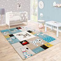 Blue Nursery Rug Dog Animal Print Baby Bedroom Carpet New Kids Boy Girl Play Mat