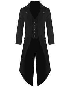 Banned Men's Steampunk Tailcoat Jacket Black Gothic Victorian Coat VTG