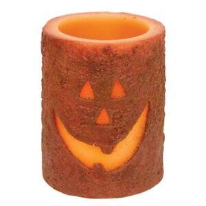 New Primitive Halloween JACK O LANTERN PUMPKIN PILLAR CANDLE Battery Operated