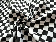 Black & White chef check fabric heavy poly cotton material heavy weight drill