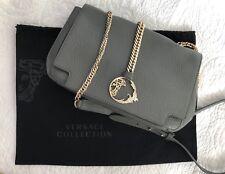 Medium Designer Leather Cross Body Bag, By Versace, Grey