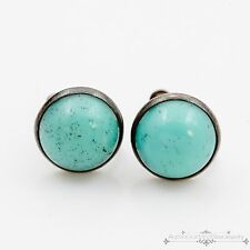 Antique Vintage Art Deco Sterling Silver Turquoise Glass Womens Dangle Earrings!