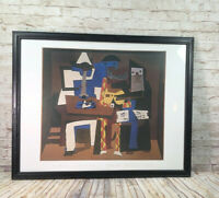 Pablo Picasso 3 MUSICIANS oil painting 31x 25 reproduction framed lithograph