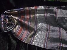 "Colorful Pure Thai Silk Scarf Shawl Pashmina 27""x67"" Silver Black Blue Gift New"