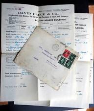 Uk - Greece 1938 Cvr w/ Documents Selling a ship S.S. Kalmarsunde Bruce & Co.