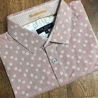 Ted Baker Mens Shirt Long Sleeve Spotty Polkadot Pink Casual Size 3 MEDIUM