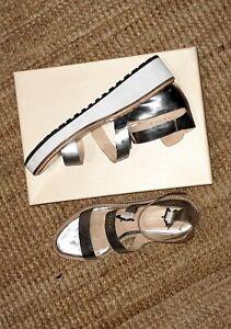 Loeffler Randall Natural Pia Wedge Sandal in SilverUS7.5 UK4 EU 71 with box