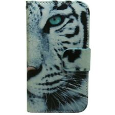 1x White Tiger Wallet Card Holder Flip case cover For Various Mobile Phone