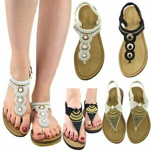 Ladies Womens Summer Sandals Wedge Heel Flip Flops Slippers Espadrille Size 4 5