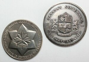 Lot of 2 Canada Centennial Tokens High Relief Large Hydroelectric & Israel Peace
