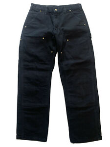 Vintage Black Carhartt Double Knee Front Pants Dungaree Fit 33x30 B01 BLK