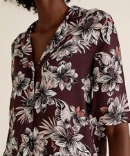 M&s Damen Shirt Dunkel Traube Mix Blumen Krepp Feel Top Bluse 12 Bnwt Marks