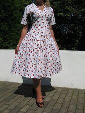 Vintage 40/50s Estilo Verano Vestido de swing Fresa 16