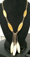 MONET high-end GT signed runway necklace rolo chain tassels shell or stone ovals