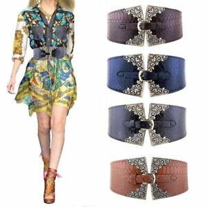 Womens Waistband Belt Elastic Stretch Buckle Waist Wide Leather Cinch Corset UK