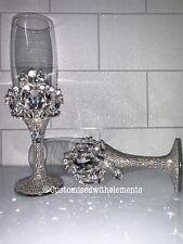Customised Toasting Champagne Flutes Bride Groom Wedding Anniversary Celebration
