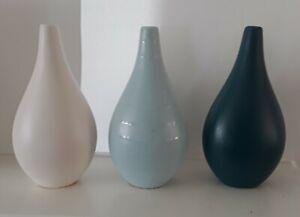 3 Ceramic bud vases black/cream Decor Art table Modern flower home contemporary