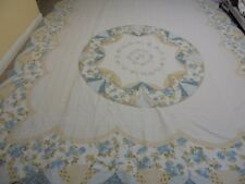 Nice Printed & Pieced Fan w/Wave Frame Quilt