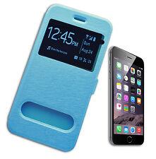 """FLIP COVER CASE CUSTODIA S VIEW COMPATIBILE APPLE iPHONE 6 PLUS 5.5 """" AZZURRO"""