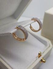 Yellow gold finish huggie hoop double row created diamond earrings gift boxed