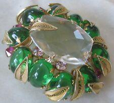 SCHREINER Large Beautiful Glass Stones & filigree Pin Brooch