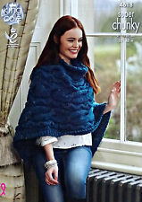 KNITTING PATTERN Ladies Cable Poncho Super Chunky King Cole 4618