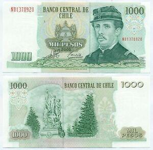CHILE NOTE 1000 PESOS 2000 SERIAL ND BLOCK 1 P 154f AU+