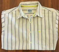Abercrombie & Fitch Cream Striped Short Sleeve Shirt Size XL